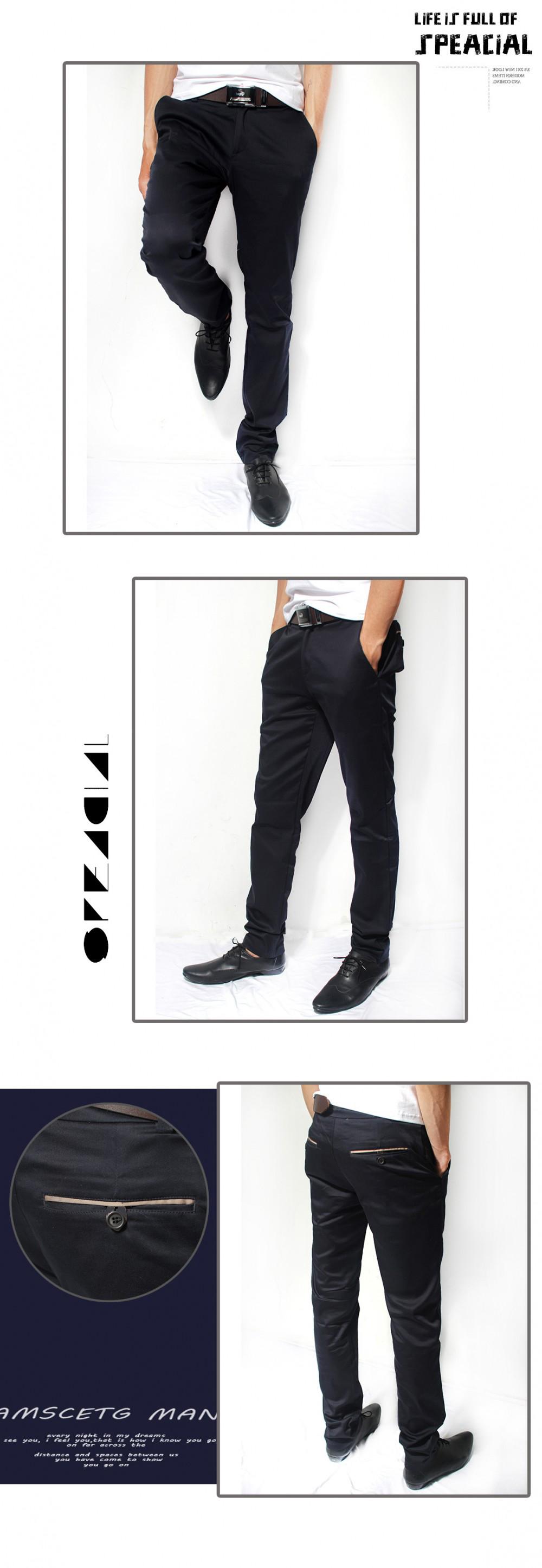 Quần kaki hàn quốc xanh đen qk122 - 1