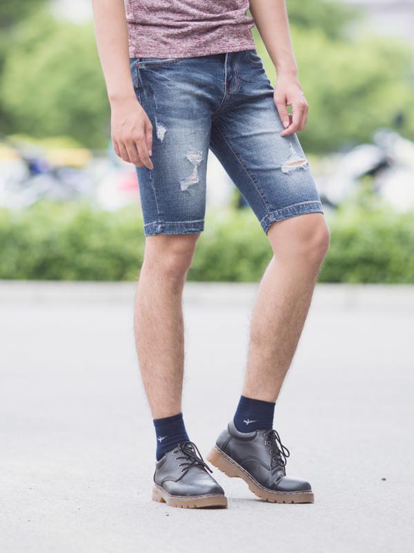 Quần short jean xanh dương đậm qs82 - 1