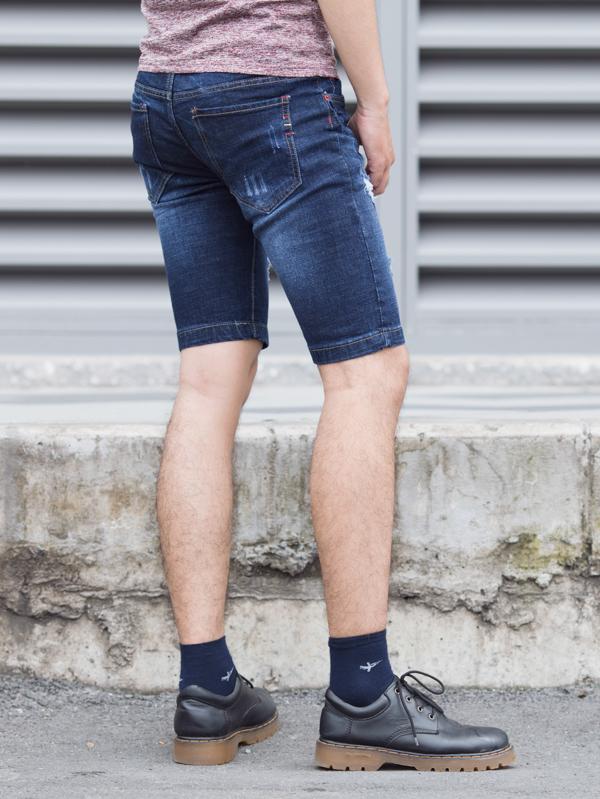 Quần short jean xanh đen qs82 - 3