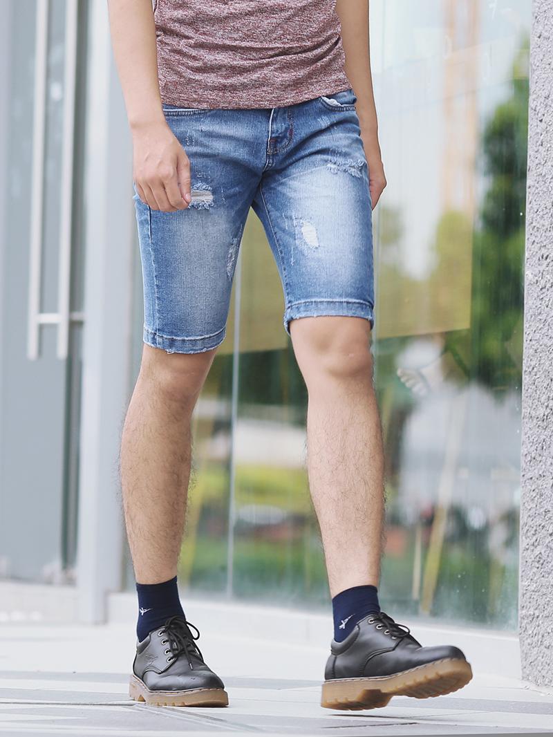 Quần short jean xanh qs82 - 3