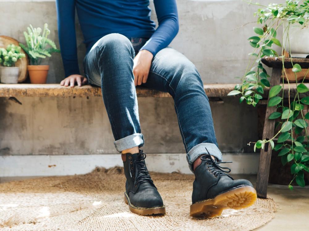 Giày boot cổ cao đen g101 - 1