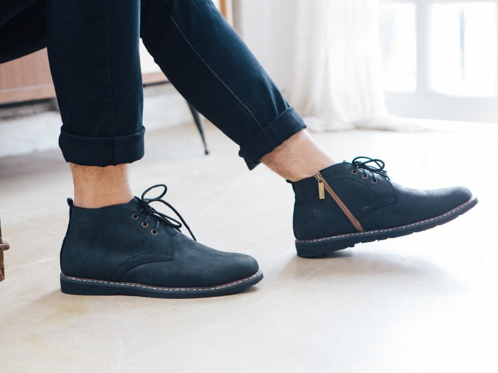 Giày boot cổ lửng đen g100 - 2