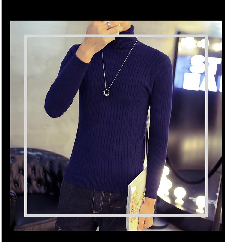 Áo len cổ lọ xanh đen al116 - 3