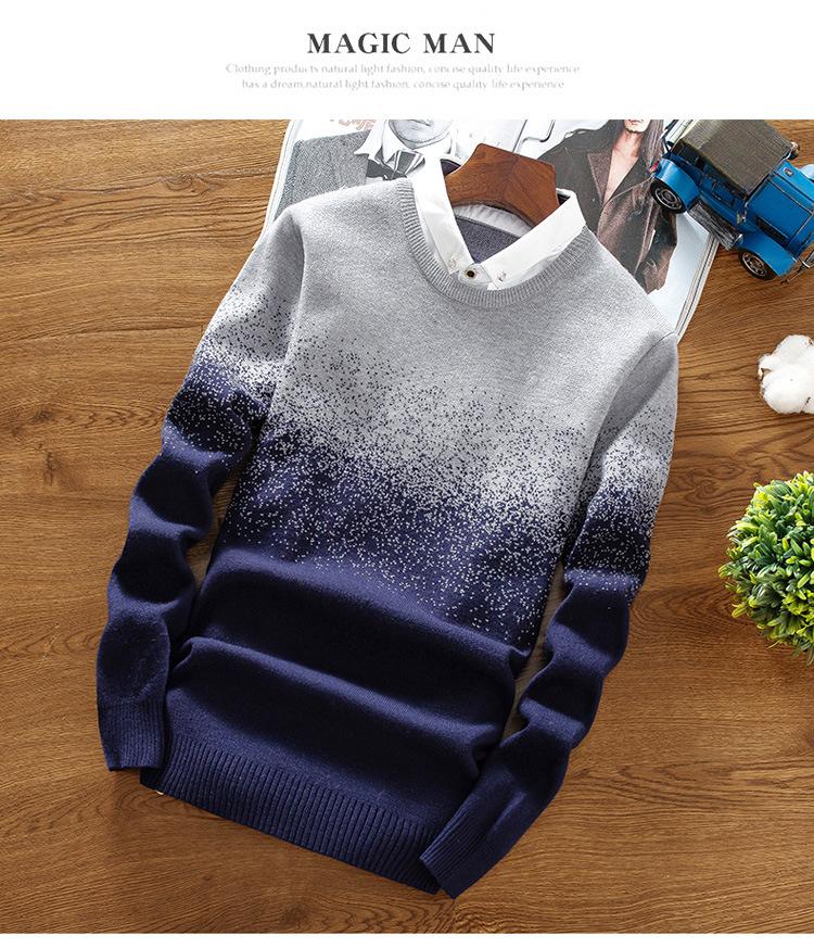 Áo len cổ sơ mi xanh đen al113 - 1