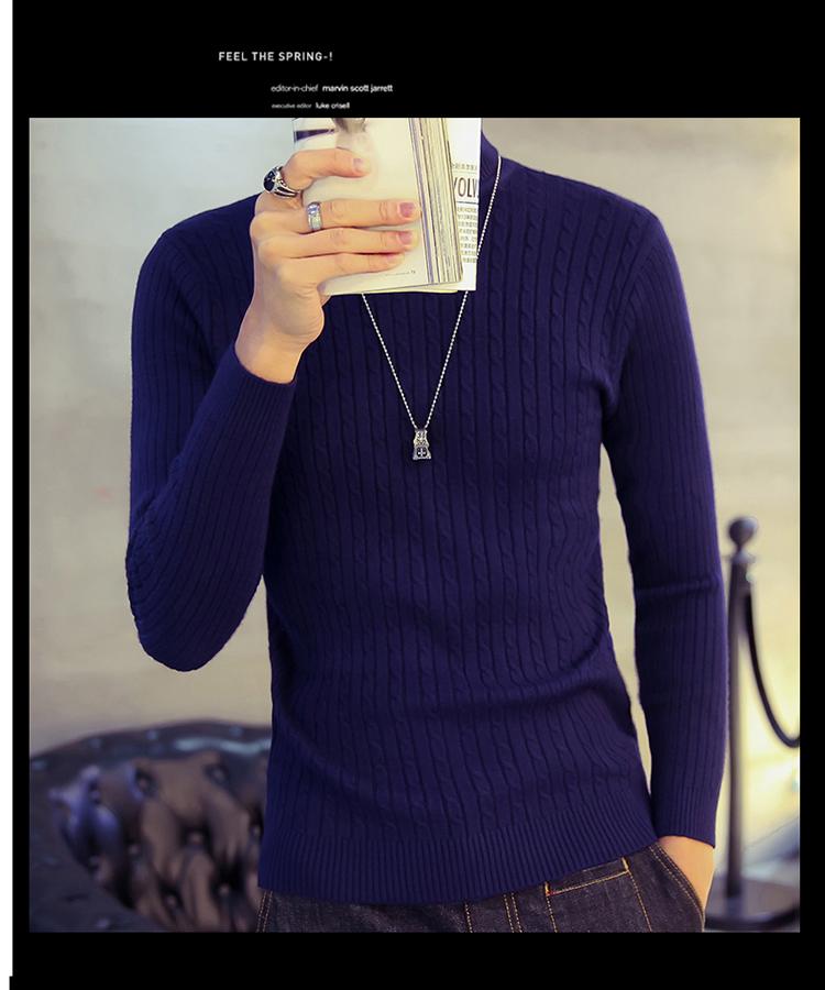 Áo len cổ lọ xanh đen al116 - 4