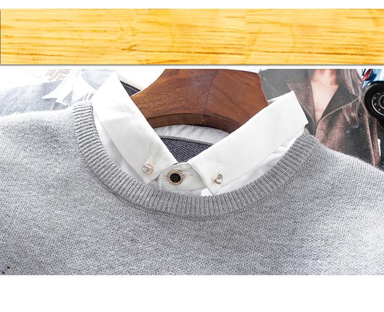 Áo len cổ sơ mi xanh đen al113 - 2