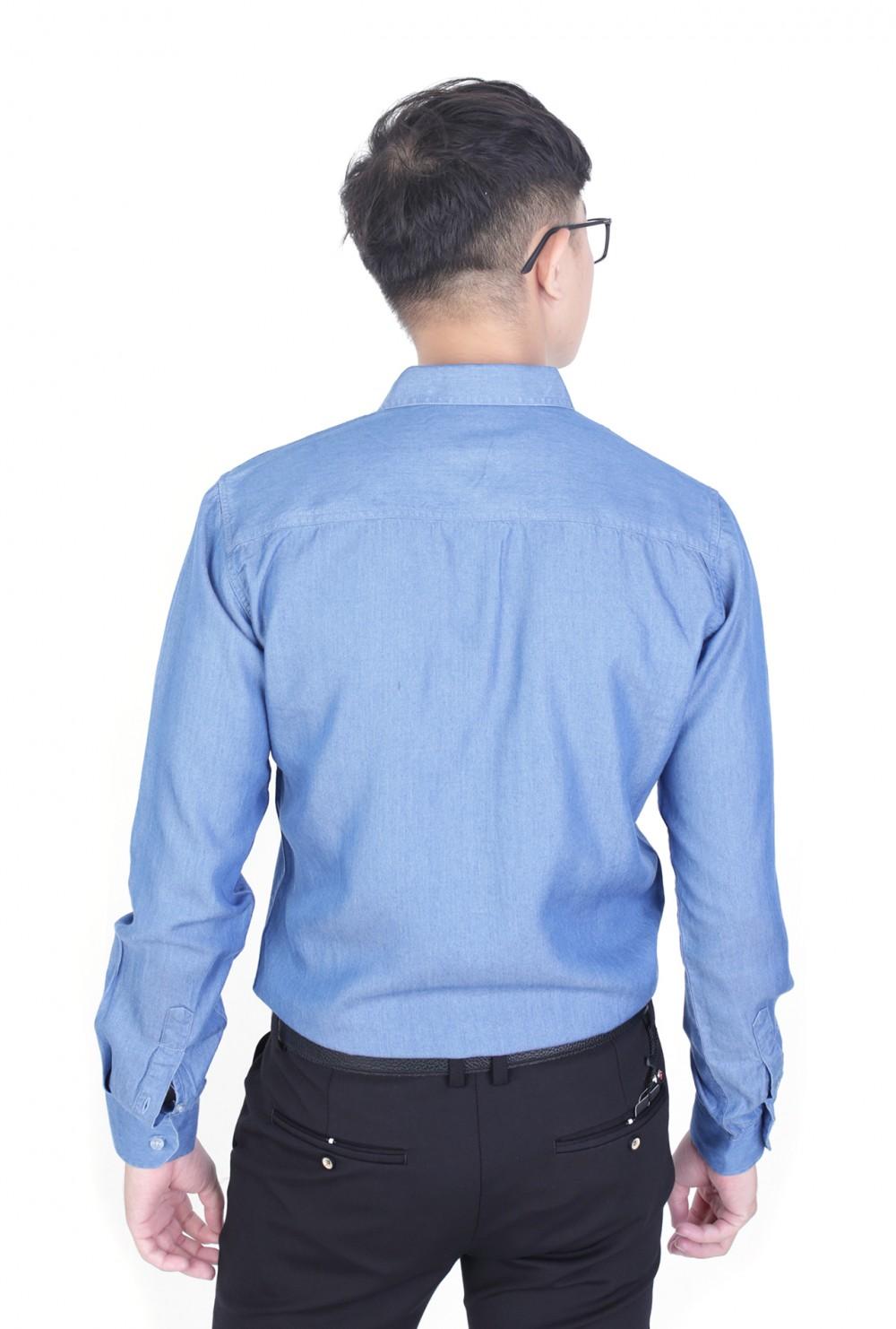 Áo sơ mi denim xanh dương asm966 - 3
