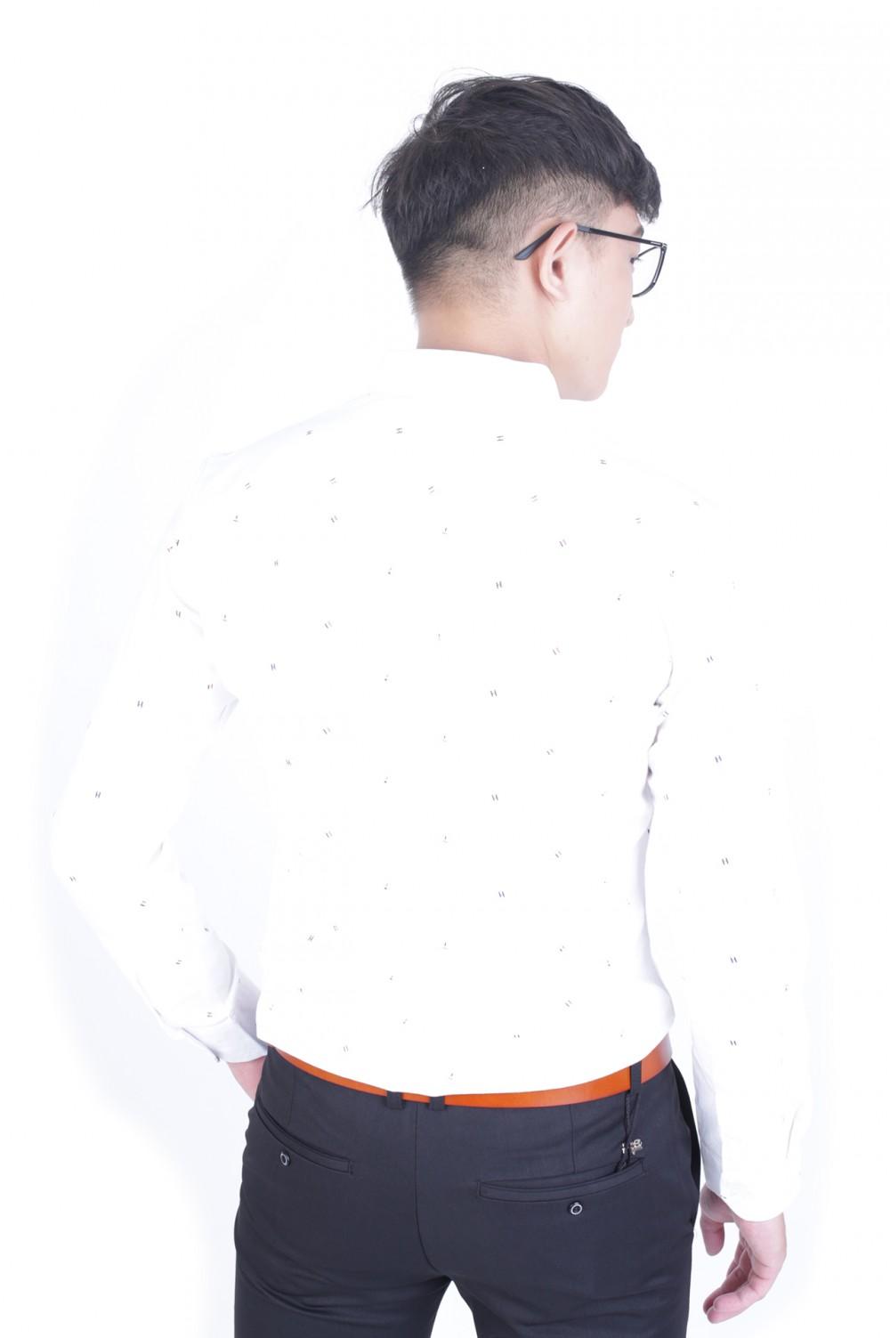 Áo sơ mi họa tiết trắng asm973 - 3