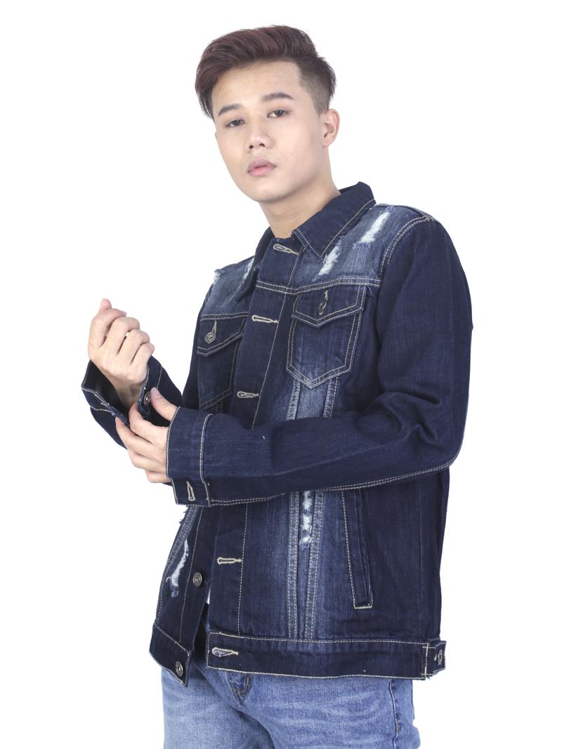 Áo khoác jean xanh đen ak236 - 1
