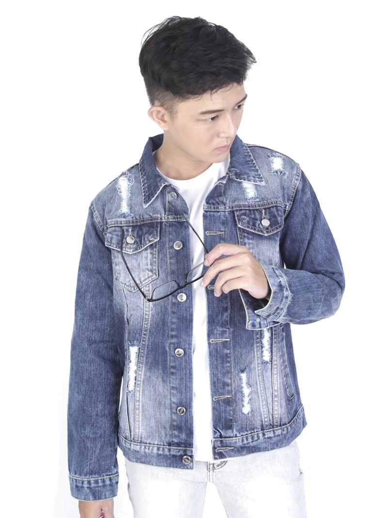Áo khoác jean xanh ak236 - 1