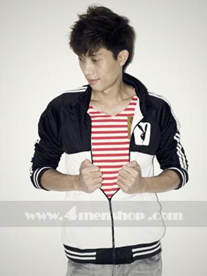 Áo khoác bóng chày playboy K056 Trắng Đen