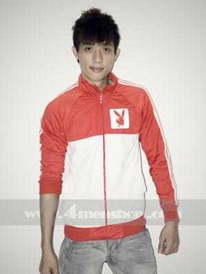 Áo khoác bóng chày playboy K056 Trắng Đỏ