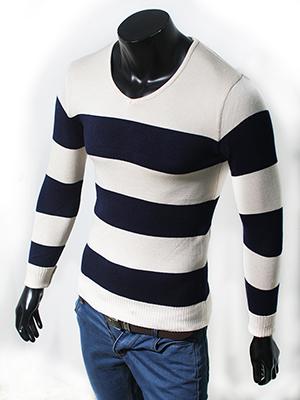 Áo len Kem Trắng sọc xanh AL05