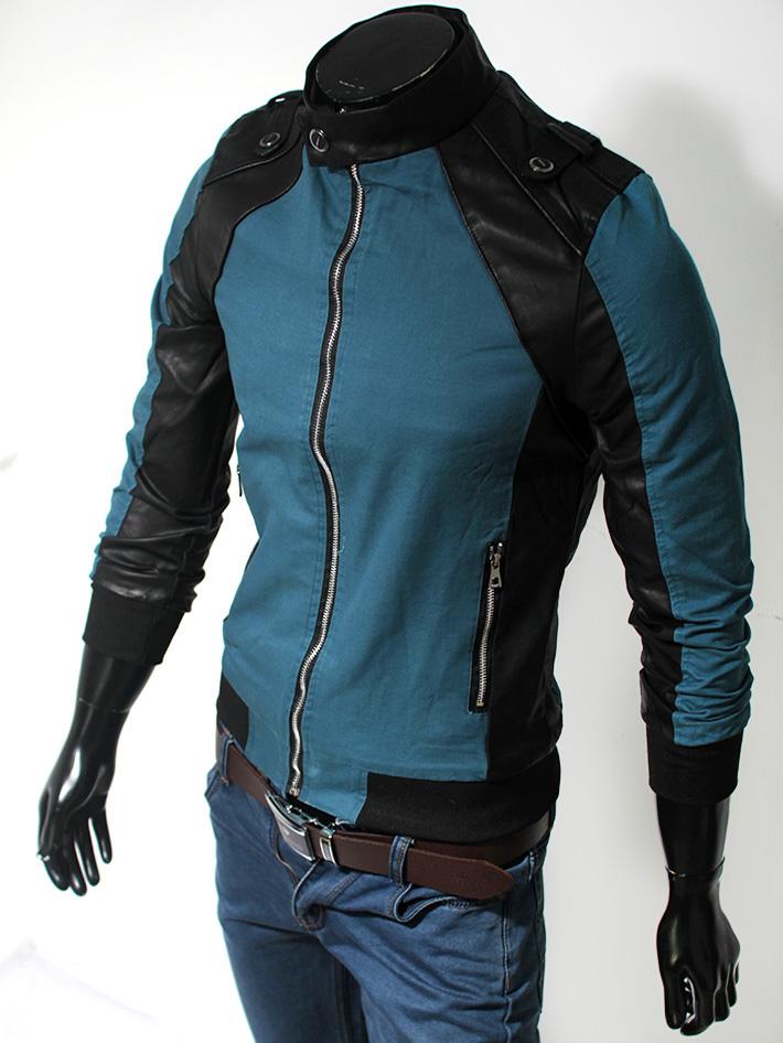 Áo khoác kaki xanh phối da AK105