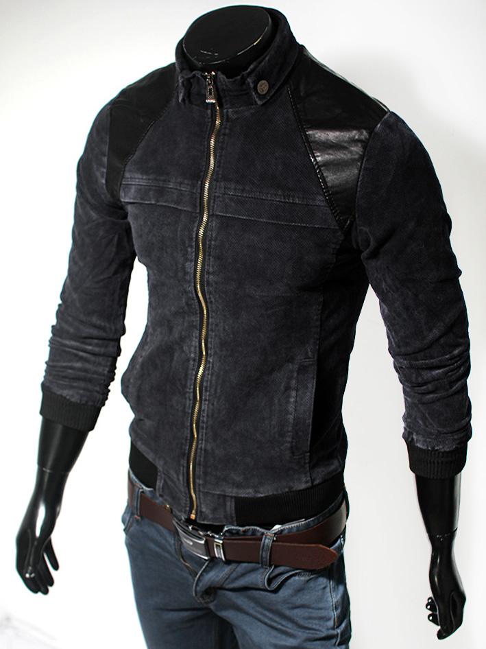Áo khoác Jean đen phối da AK100