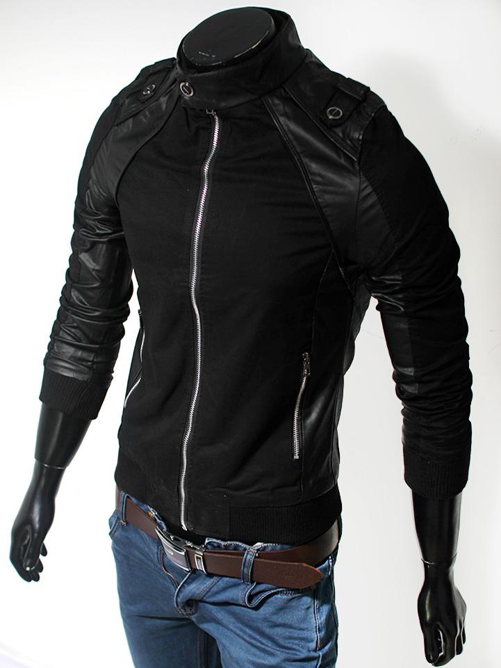 Áo khoác kaki đen phối da AK105
