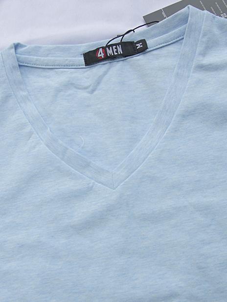 Áo thun cổ tim xanh da trời nhạt at541 - 3
