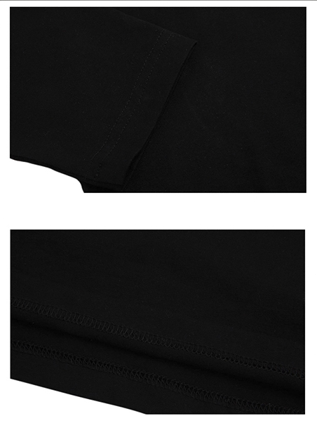 Áo thun tay dài trơn cổ tim đen at542 - 2