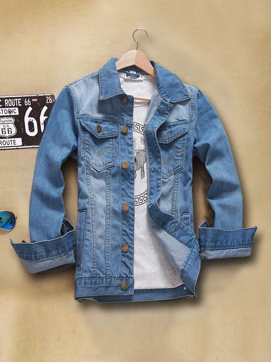 Áo khoác jean xanh da trời nhạt ak135 - 1