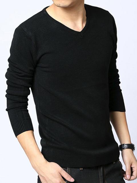 Áo len cổ tim đen al65 - 1