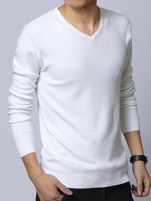 Áo len cổ tim trắng kem al65 - 1