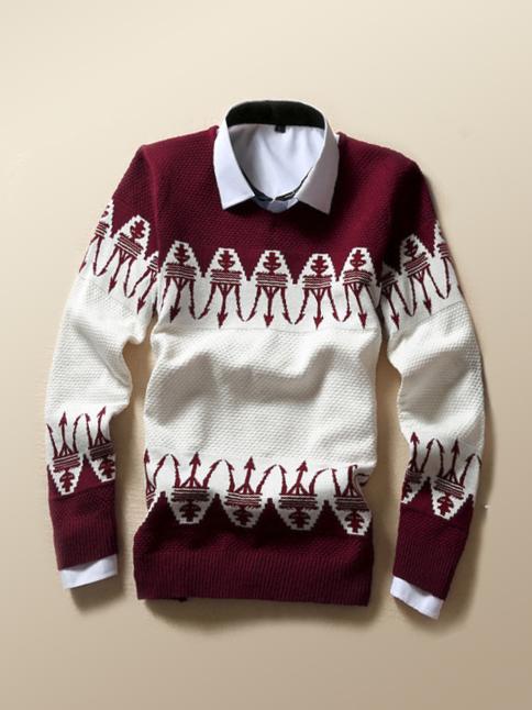 Áo len đỏ đô al66 - 1