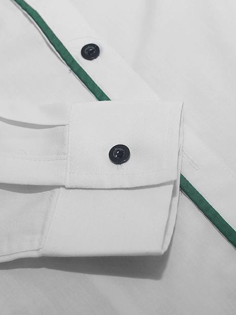 Áo sơ mi trắng phối xanh rêu asm650-1 - 3