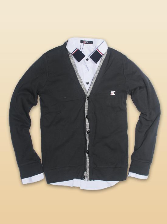Áo khoác cardigan xám chuột đậm ac086 - 1