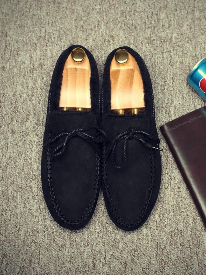 Giày Mọi Lót Lông Đen G11
