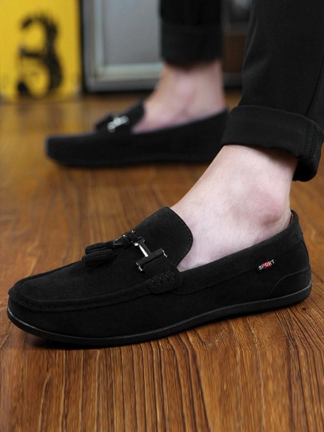 Giày Mọi Da Lộn Đen G07