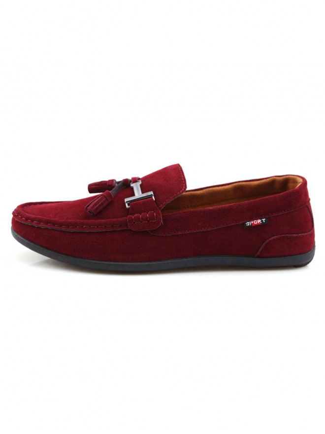 Giày Mọi Da Lộn Đỏ Đô G07