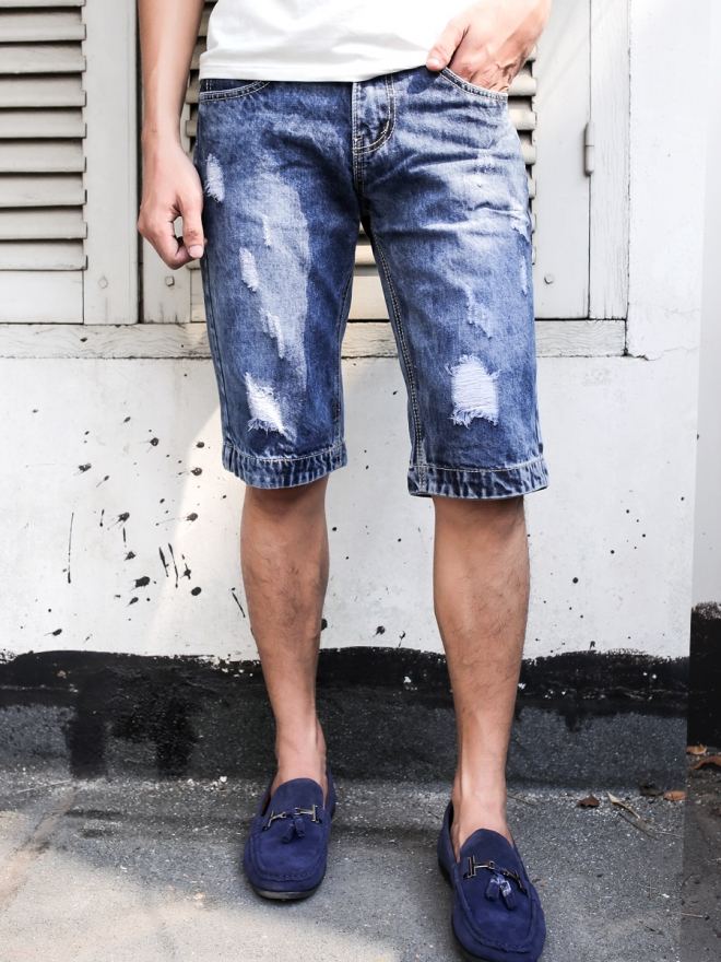 Quần short jean xanh đen qs58 - 1