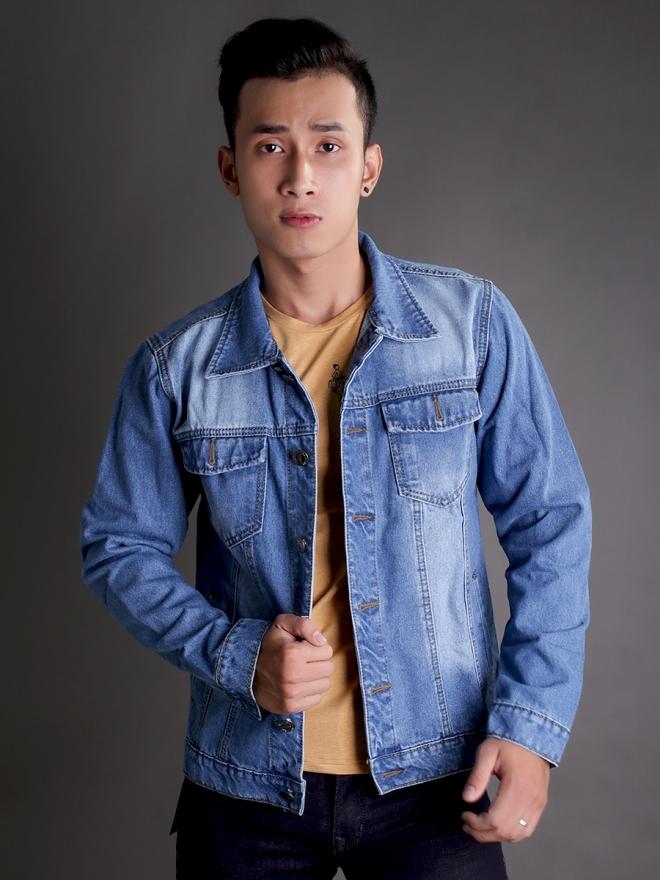 Áo khoác jean xanh ak184 - 4
