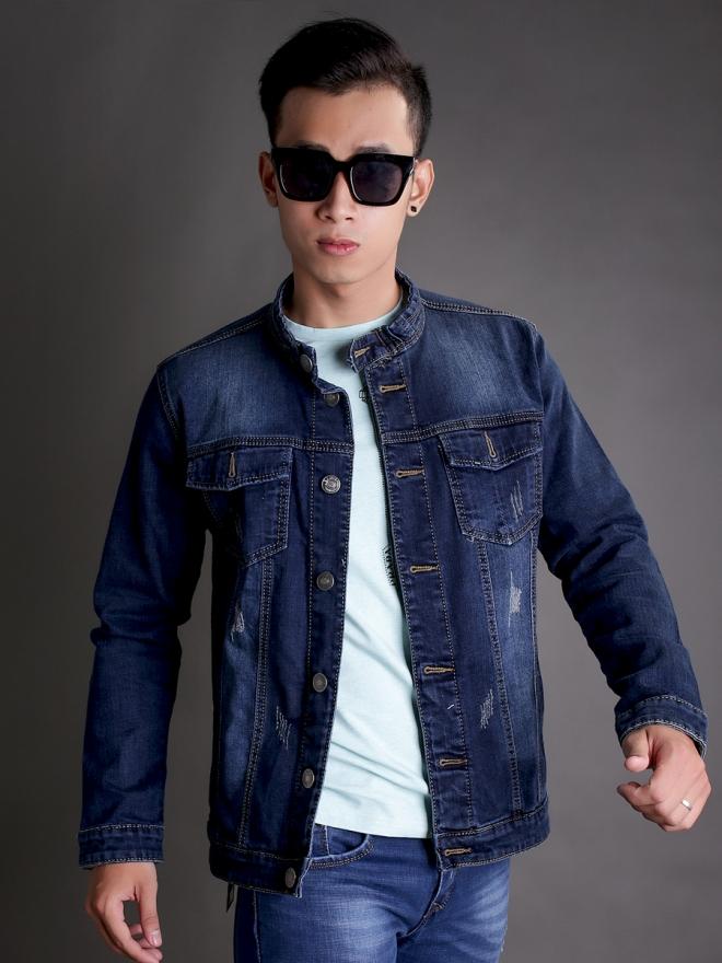 Áo khoác jean xanh đen ak183 - 2