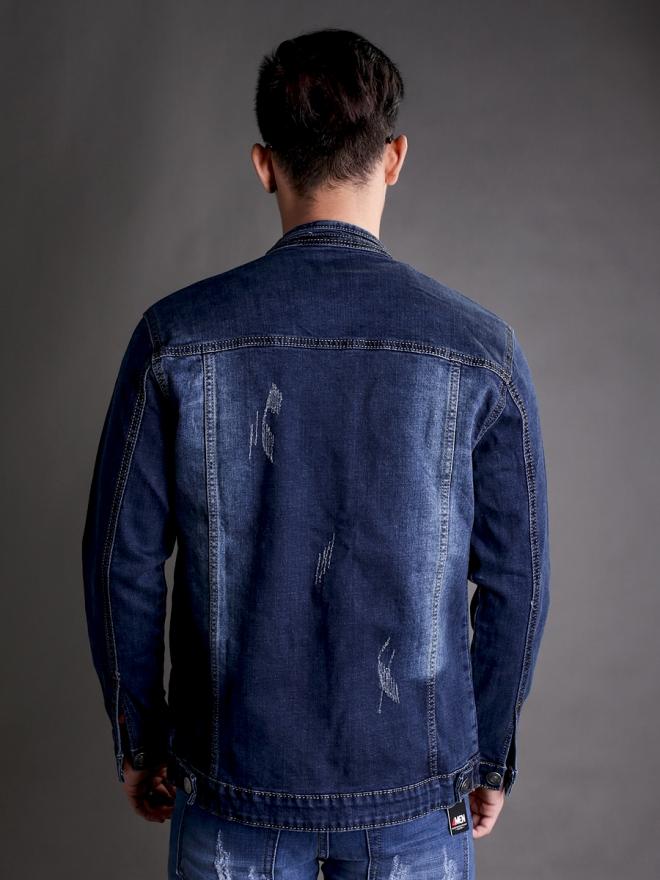 Áo khoác jean xanh đen ak183 - 3