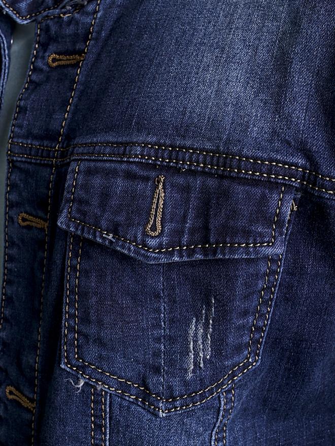 Áo khoác jean xanh đen ak183 - 1