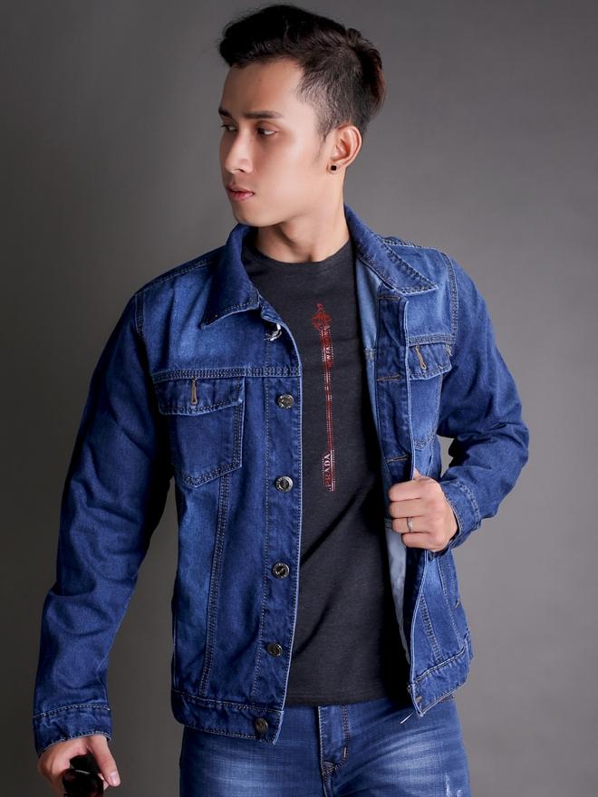 Áo khoác jean xanh dương đậm ak184 - 3