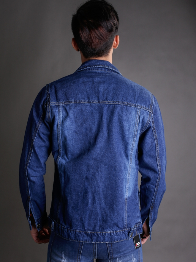 Áo khoác jean xanh dương đậm ak184 - 2