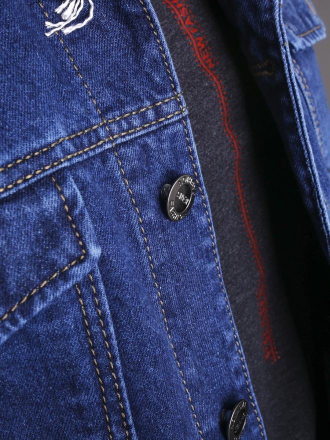 Áo khoác jean xanh dương đậm ak184 - 1