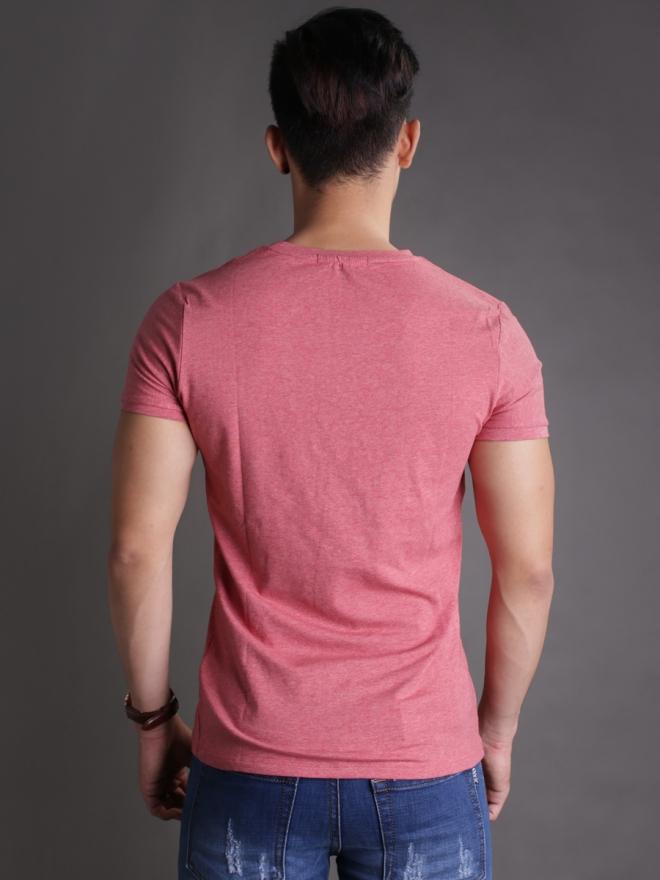 Áo thun cổ tròn đỏ cam at596 - 2