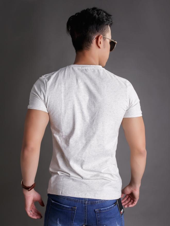 Áo thun cổ tròn trắng kem at596 - 2