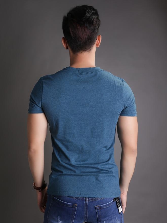 Áo thun cổ tròn xanh at596 - 2