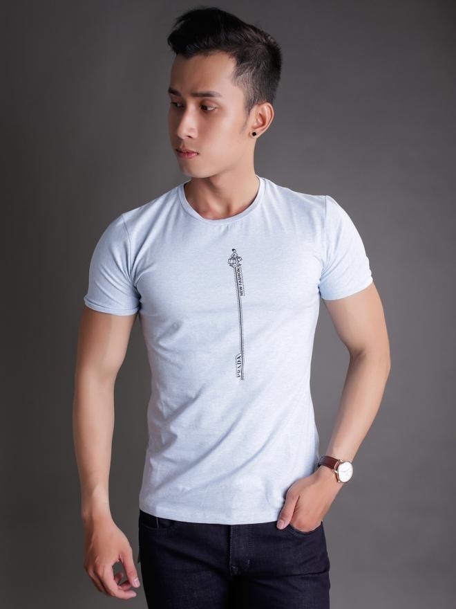 Ao Thun Co Tron Xanh Da Troi AT596