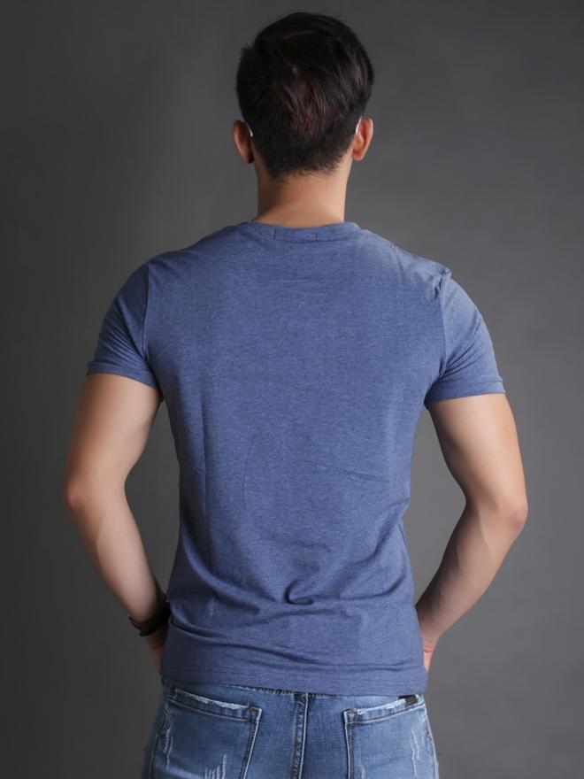 Áo thun cổ tròn xanh đen at595 - 3