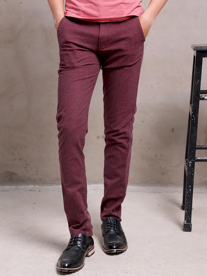 Quần kaki vải bố đỏ đô qk154 - 1