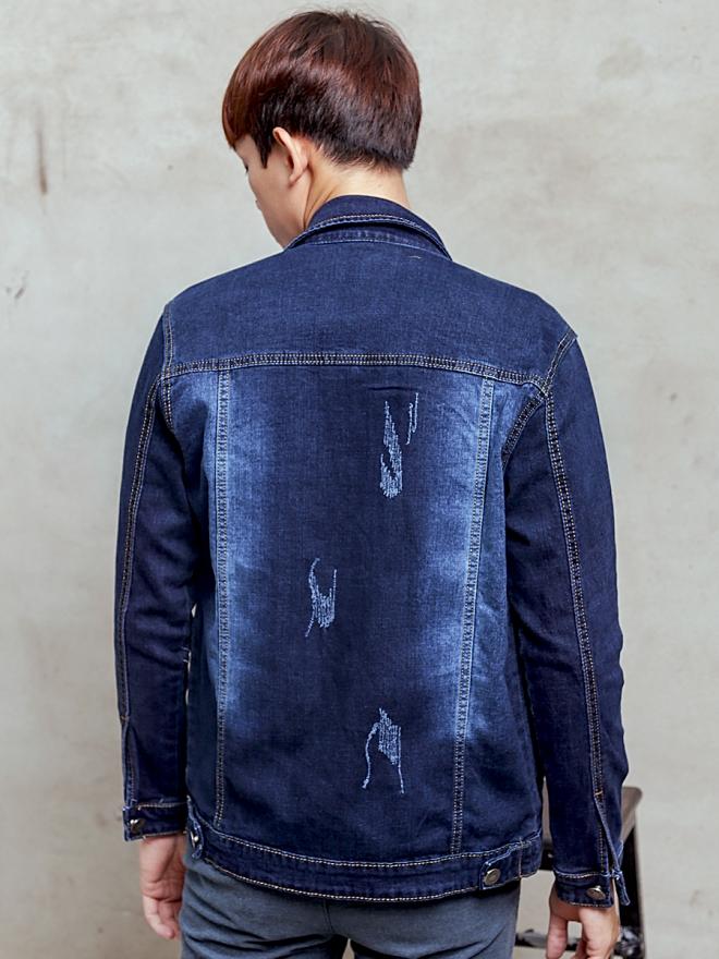 Áo khoác jean xanh đen ak186 - 3
