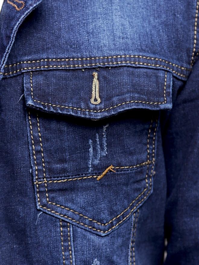 Áo khoác jean xanh đen ak186 - 2