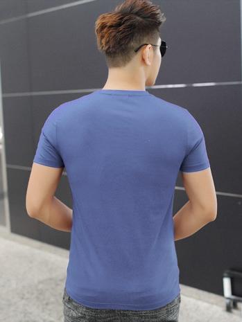 Áo thun cổ tim xanh at604 - 2