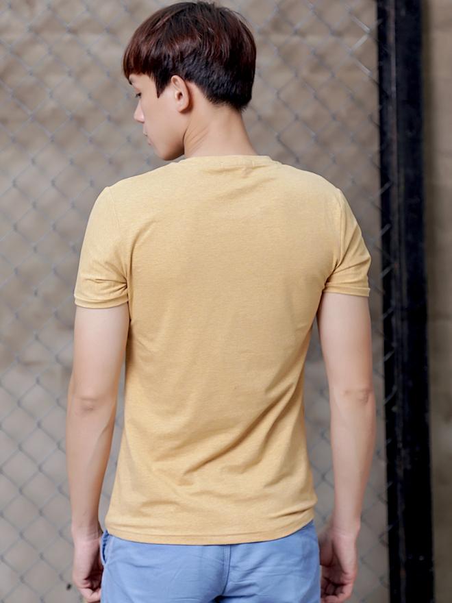 Áo thun cổ tròn vàng at600 - 2
