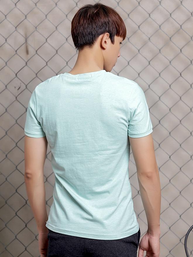 Áo thun cổ tròn xanh ngọc at600 - 2